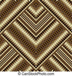 Gold 3d textured striped seamless pattern.