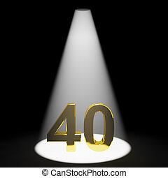 Gold 40th 3d Number Closeup Representing Anniversary Or Birthdays