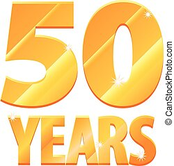 Gold 50 years vector icon