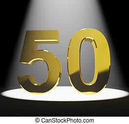 gold, 50th, geburtstage, jubiläum, zahl, closeup, darstellen, oder, 3d