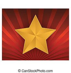 gold, abbildung, roter stern