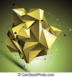 Gold abstract asymmetric vector object with lines mesh over...