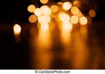 Gold abstract bokeh background -  Christmas  vintage lights background. defocused