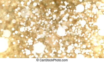 Gold Abstract Bokeh Lights Particles Loop Background.