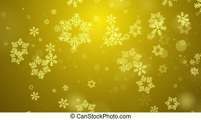Gold Abstract Falling snow flakes Snowflakes Particles 4K Loop Animation
