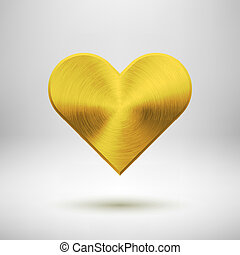 Gold Abstract Heart Sign with Metal Texture