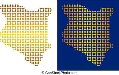 Gold Abstract Kenya Map