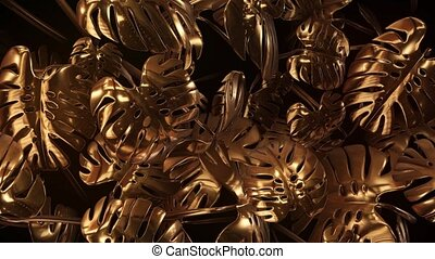 Gold abstract plants with glitter 4k