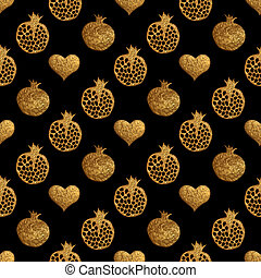 Gold abstract pomegranate pattern. Hand painted hearts seamless background.