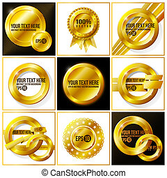 Gold abstract vector set of backgrounds for your design