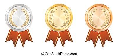 gold, abzeichen, silber, bronze