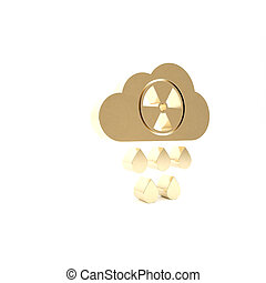 Gold Acid rain and radioactive cloud icon isolated on white background. Effects of toxic air pollution on the environment. 3d illustration 3D render