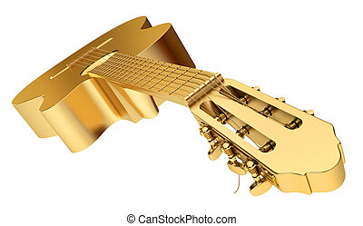 Gold Acoustic Guitar isolated on white background, ...