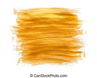 Gold acrylic paint brush strokes