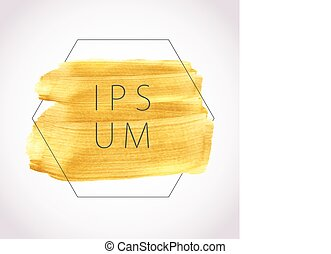 Gold acrylic paint. Vector illustration. Abstract frame with...