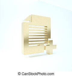 Gold Add new file icon isolated on white background. Copy document icon. 3d illustration 3D render