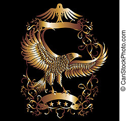 gold, adler, schutzschirm, vektor, kunst