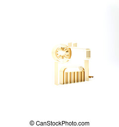 Gold Air compressor icon isolated on white background. 3d illustration 3D render