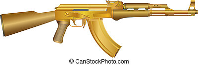 Gold AK 47 - Detailed vector illustration of gold weapon ...