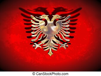 Gold Albania Flag - Golden and red flag of Albania