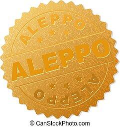 Gold ALEPPO Medallion Stamp - ALEPPO gold stamp medallion. ...