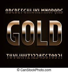 Gold alphabet font. Beveled metallic letters, numbers and symbols.