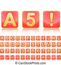 Gold alphabet in red squares.