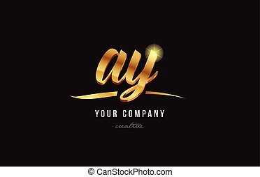 gold alphabet letter ay a y logo combination icon design