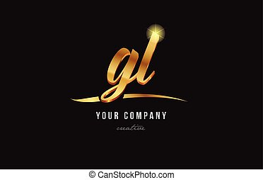 gold alphabet letter gl g l logo combination icon design -...