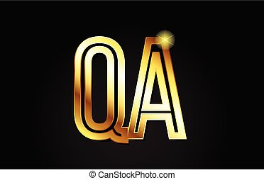 gold alphabet letter qa q a logo combination design suitable for a company or business