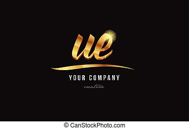 gold alphabet letter ue u e logo combination icon design - ...