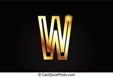 gold alphabet letter w logo icon design