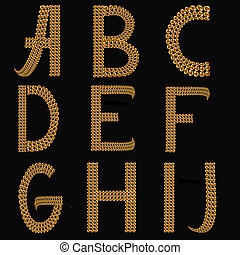 Gold Alphabet Letters Uppercase A - J on black background isolated. The texture of the letters - golden shiny droplets, reflective light