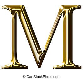 gold alphabet symbol  M  -  uppercase  letter
