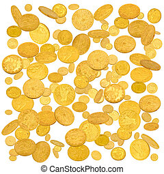 Gold american dollar coins falling down