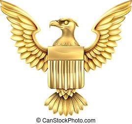 Gold American Eagle Shield - Gold golden metal American...