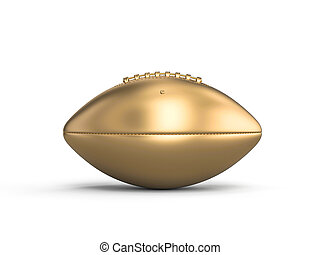 gold american football ball on a white background.