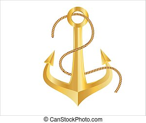 Gold Anchor And Rope On White Background
