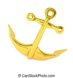 Gold anchor isolated on a white background. 3d illustration.