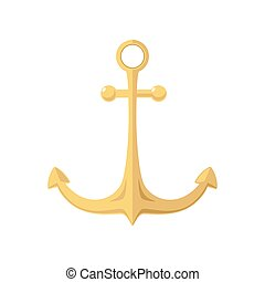 Gold Anchor Isolated on White, Flat Design ,Ship Equipment,...