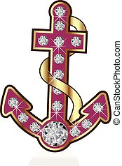 Gold anchor vector pink logo