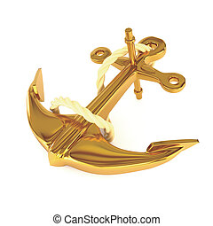 Gold anchor  with rope, isolated on a white background. 3d illustration.