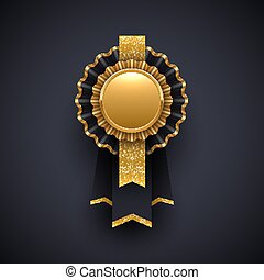Gold and black award badge with glitter gold ribbon. Vector illustration.