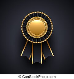 Gold and black award badge with ribbon. Vector illustration.