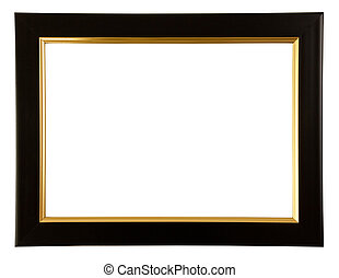 Gold and black color frame on white background