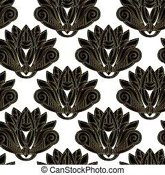Gold and black floral emblem design seamless pattern