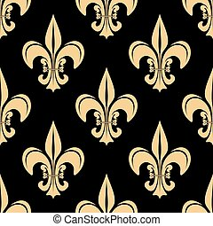 Gold and black french seamless pattern