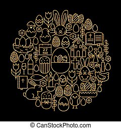 Gold and Black Happy Easter Line Icons Set Circle Shape