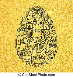 Gold and Black Happy Easter Line Icons Set Egg Shape