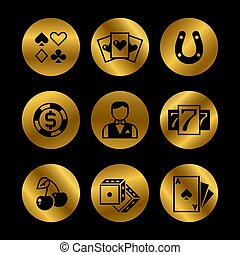 Gold and black lottery, roulette, casino, slot machine, gambling vector icons